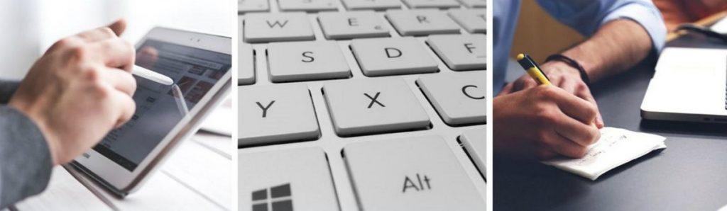 На фото – планшет, клавиатура, лист и ручка